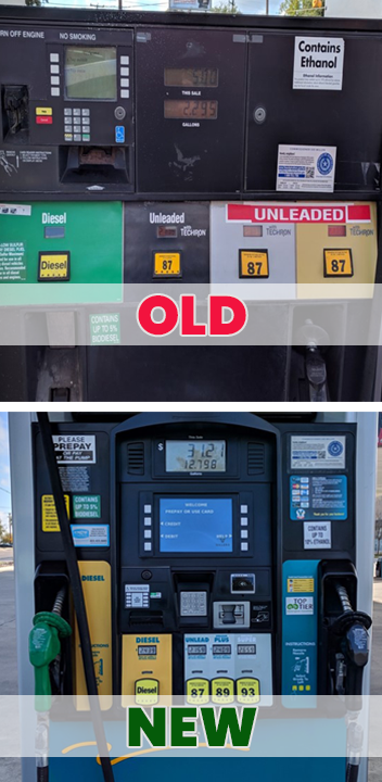 Comparison of old gas pumps and new gas pumps